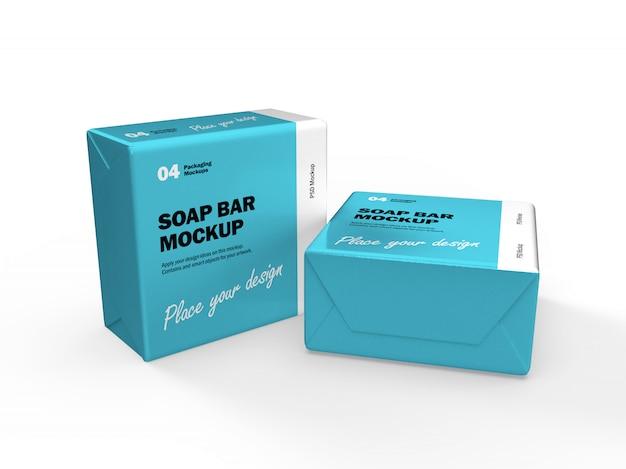 3d дизайн упаковки макет двух квадратных мыла бар коробки Premium Psd