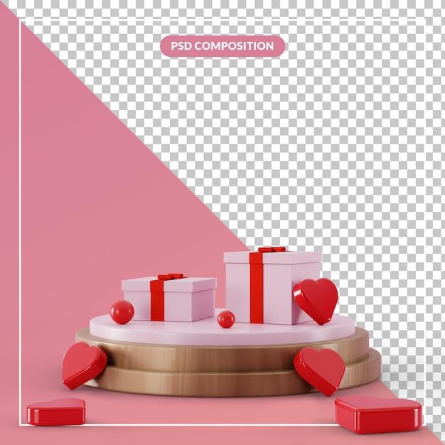3d 렌더링에 무리 사랑 심장 기호로 3d 받침대 선물 상자 프리미엄 PSD 파일