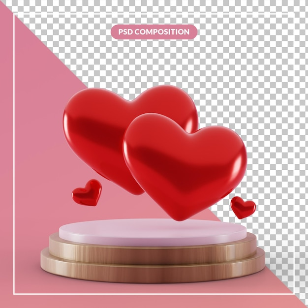 3d 렌더링에서 부부 사랑 심장 기호로 3d 받침대 프리미엄 PSD 파일