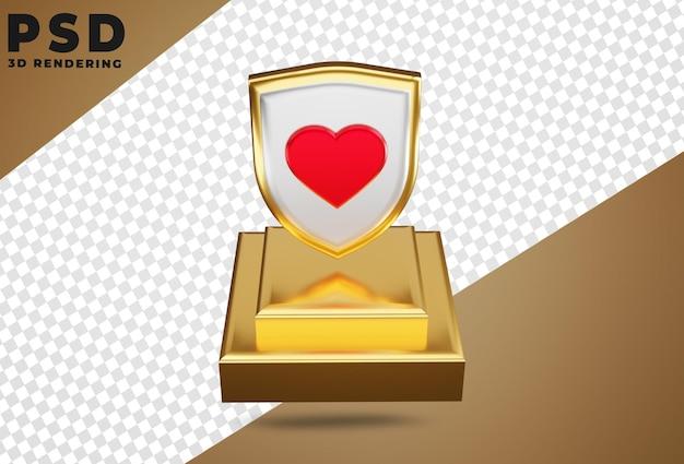 3d логотип перисаи любовь изолировать Premium Psd
