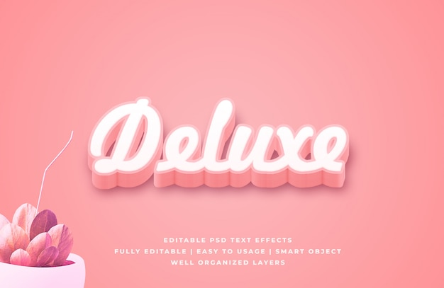 3d ping deluxe text style effect Premium Psd