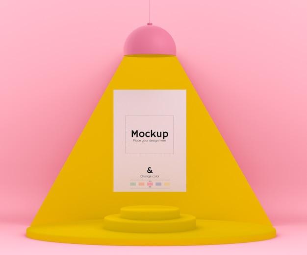 モックアップ紙と編集可能な色を照らすランプを備えた3dピンクと黄色の環境 無料 Psd