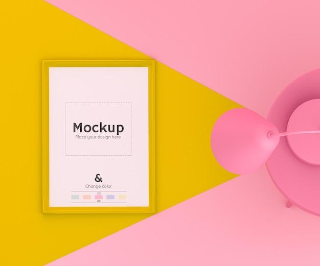 床の携帯電話を照らすランプと編集可能な色の3dピンクと黄色のシーン 無料 Psd