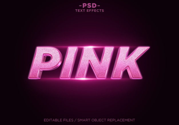 Редактируемый текст с эффектами розового блеска 3d Premium Psd