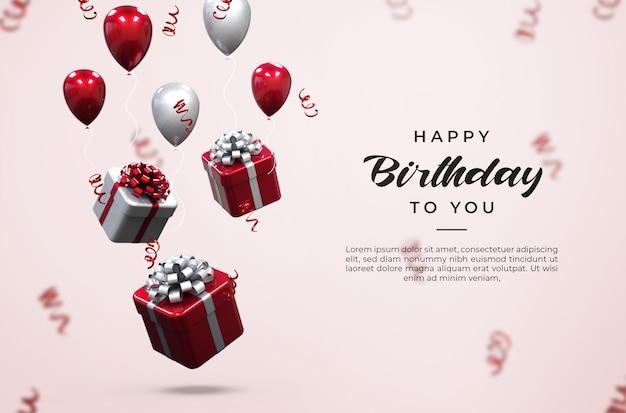 PSD bong bóng 3d màu hồng và trắng sáng bóng, hộp quà và mockup hoa giấy