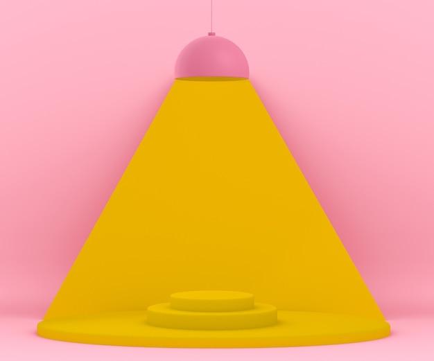 Ambiente 3d rosa e giallo con una lampada che illumina una piattaforma Psd Gratuite