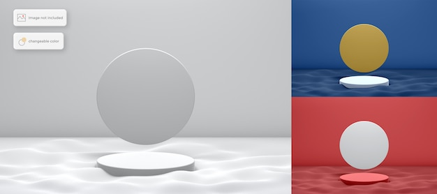 3d podium on the wave with circle background product placement Premium Psd