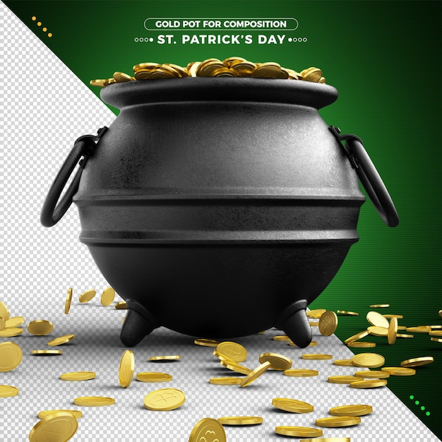 3d pot of gold for st. patrick's day for composition Premium Psd