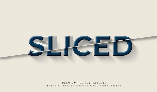 スライスした3dテキストスタイルエフェクトpsd Premium Psd