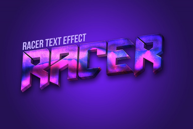3d racer text effect Premium Psd