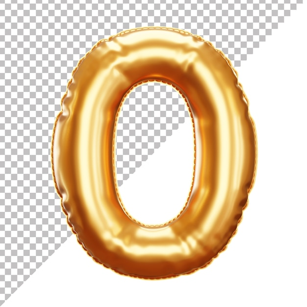 3d realistic 0 number gold helium foil balloon isolated Premium Psd