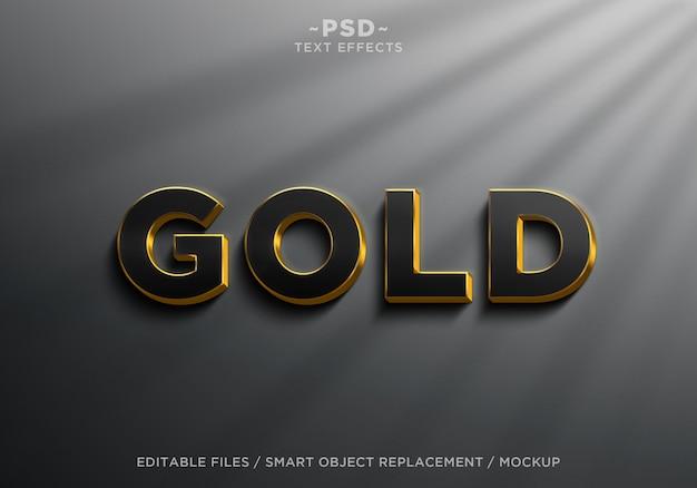 3d 현실적인 블랙 골드 효과 편집 가능한 텍스트 프리미엄 PSD 파일