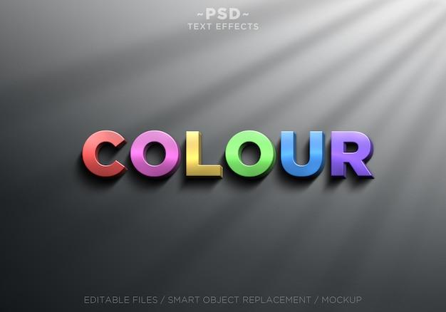 3d 사실적인 색상 효과 편집 가능한 텍스트 프리미엄 PSD 파일