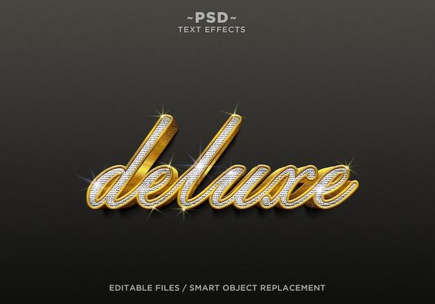 Редактируемый текст 3d realistic deluxe diamond gold effects Premium Psd