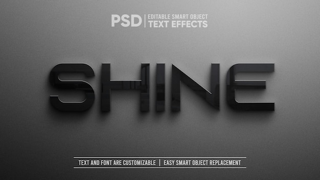 3d realistic elegant black ceramic text editable smart object mockup Premium Psd