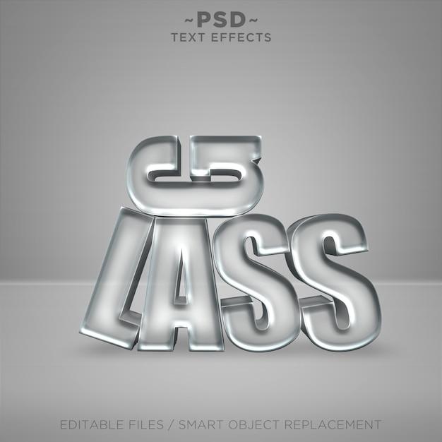 Редактируемый текст 3d-эффектов реалистичного стекла Premium Psd
