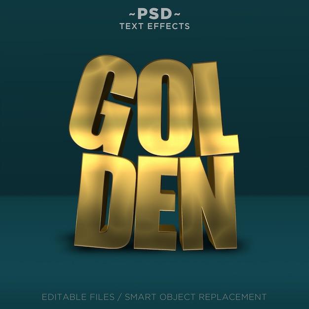 3d realistic golden effects editable text Premium Psd