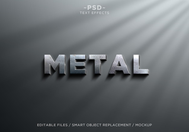 3d realistic metal effects editable text Premium Psd