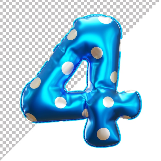 3d realistic number 4 polka dots helium foil balloon Premium Psd