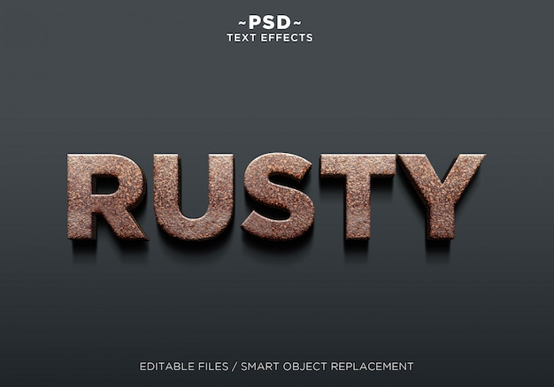3d realistic rusty effect editable text Premium Psd