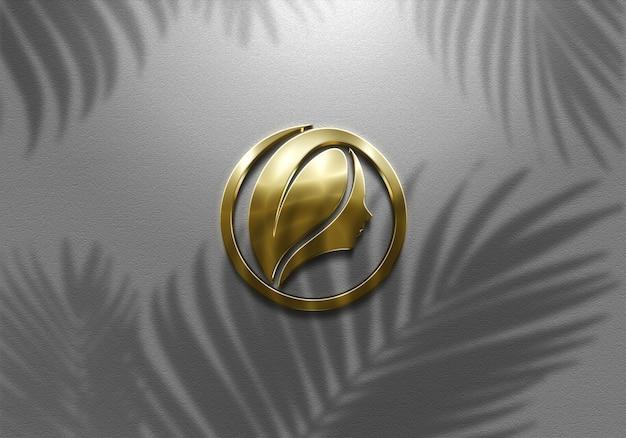 3d 현실적인 기호 벽 황금 로고 모형 프리미엄 PSD 파일