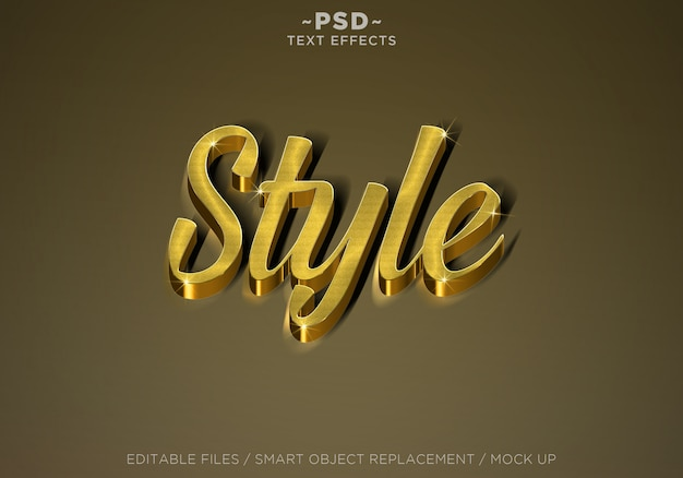 3d 현실적인 스타일 골드 효과 편집 가능한 텍스트 프리미엄 PSD 파일