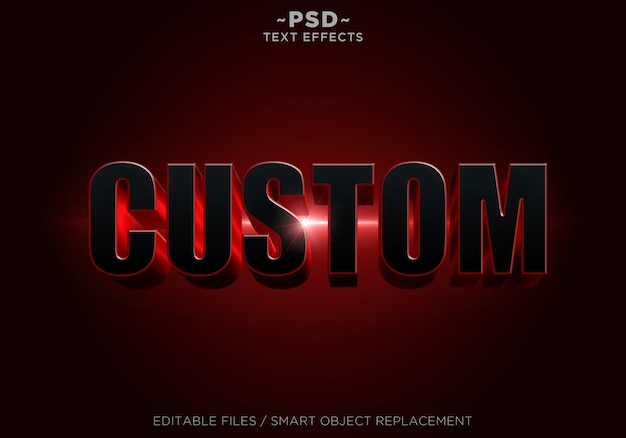 Редактируемый текст 3d red red effects Premium Psd