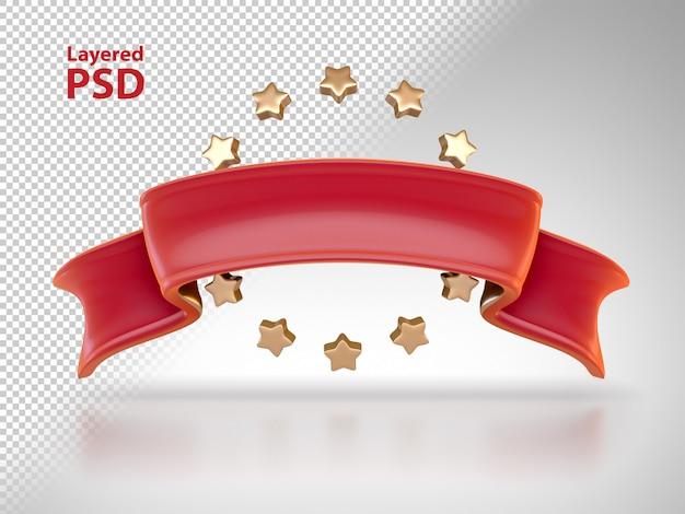 Nastro rosso 3d con stelle dorate Psd Gratuite