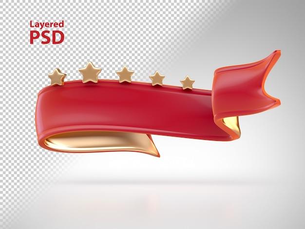金色の星と3 d赤いリボン 無料 Psd
