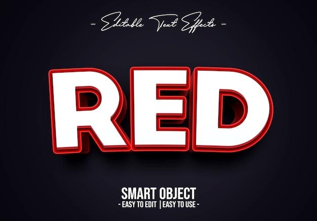 3d赤いテキストスタイルの効果テンプレート Premium Psd