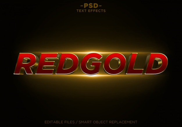 Редактируемый текст 3d redgold glitter golden effects Premium Psd