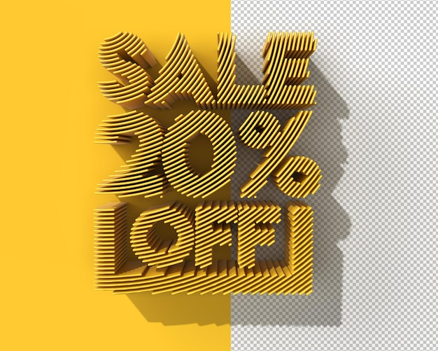 3d render abstract 20 sale off discount banner transparent psd file