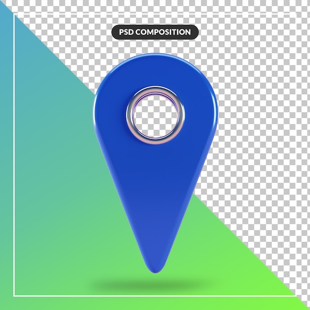 3d render blue map pointer icon isolated Premium Psd