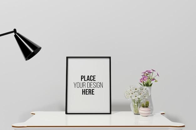 3d визуализация макета рамки дизайна в гостиной Premium Psd