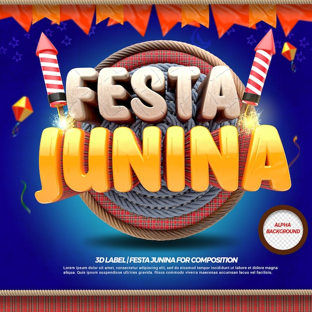 3d render festa junina with flags and fireworks