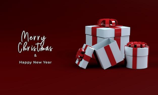 메리 크리스마스를위한 3d 렌더링 선물 상자 무료 PSD 파일