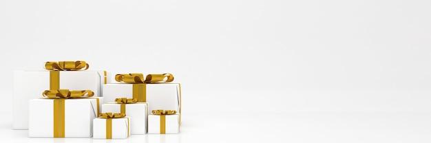 3d 렌더링 Giftbox 파스텔 색상 기쁜 성 탄과 새 해 복 많이 받으세요 모형 프리미엄 PSD 파일