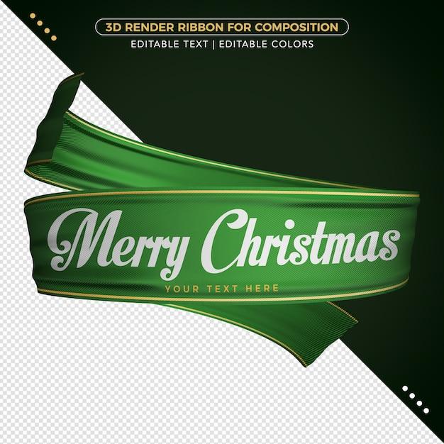 作曲のための3dレンダリンググリーンメリークリスマスリボン Premium Psd