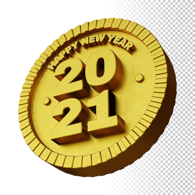 3d render of happy new year 2021 with golden bold circular badge isolated Premium Psd