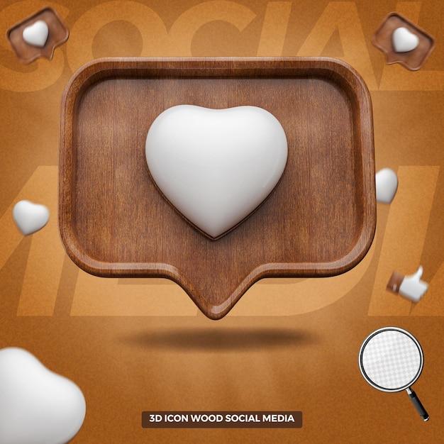 3d render instagram like icon in wooden message balloon Premium Psd