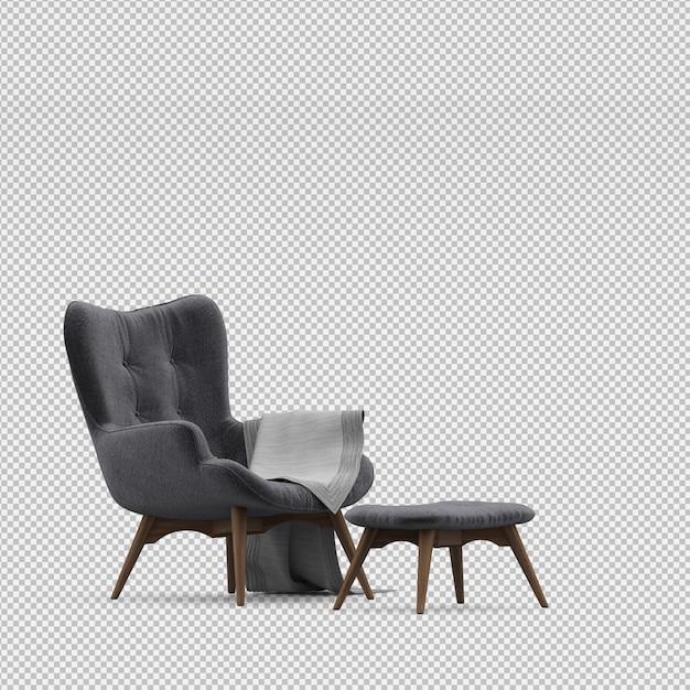 3d render of isometric armchair Premium Psd