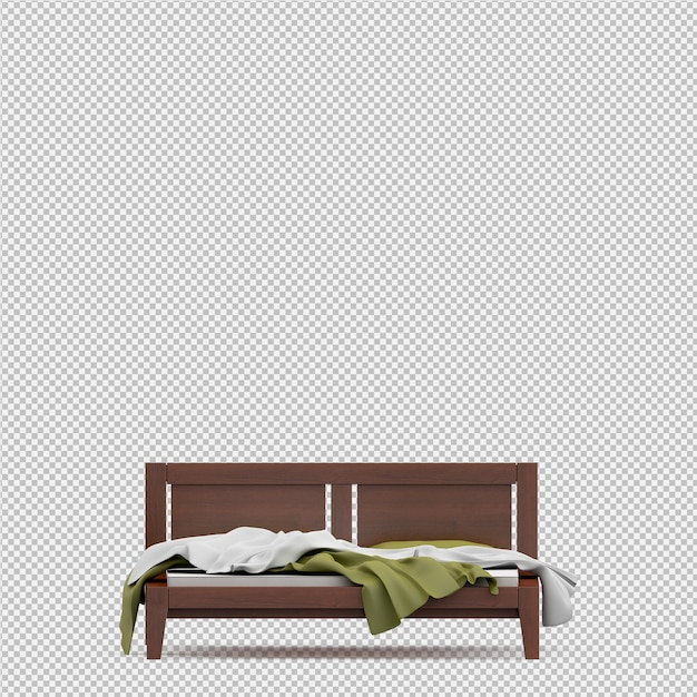 3d render of isometric bed Premium Psd