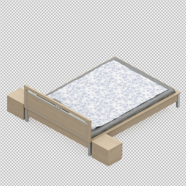 3d render of isometric bed Premium Psd