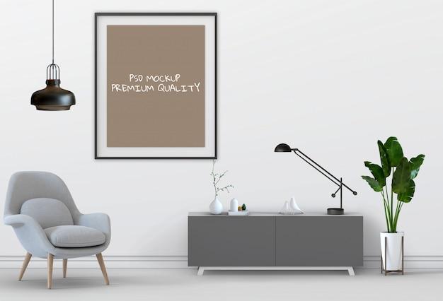 3d render of living interior room mockup blank poster. Premium Psd