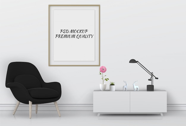 3d render of living interior room mockup blank poster. Premium Psd
