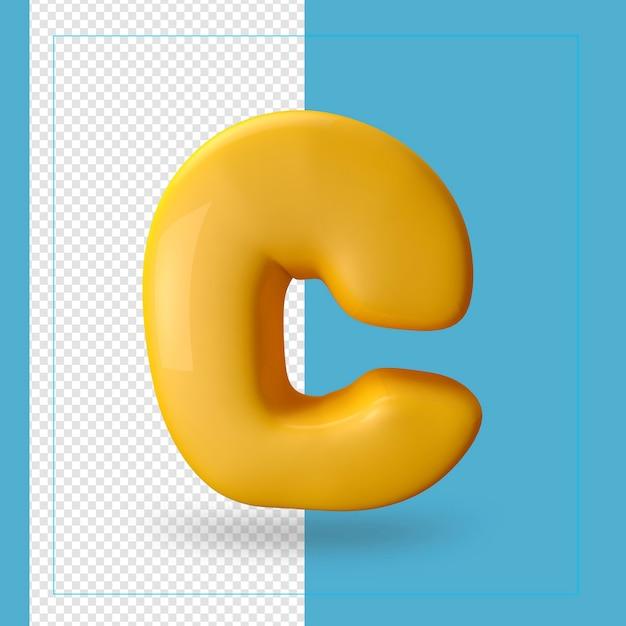 3d визуализация буквы c алфавита Premium Psd