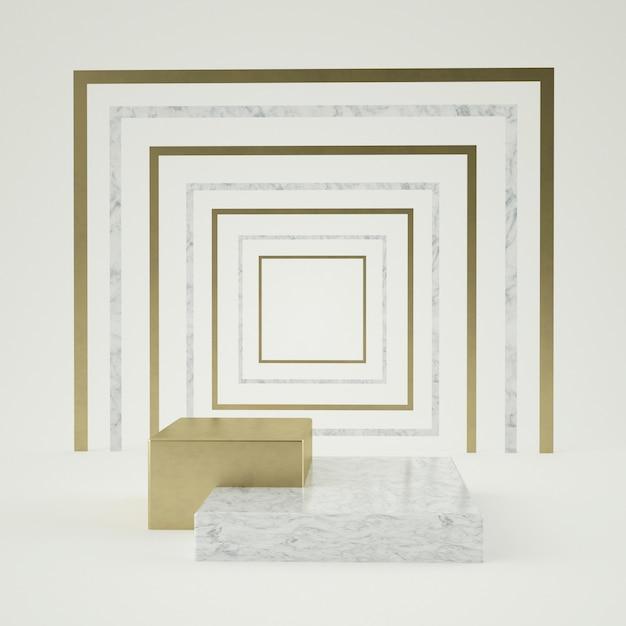 블랙 화이트 대리석 받침대 단계 절연, 황금 반지, 라운드 프레임, 추상 최소한의 개념, 빈 공간, 간단한 깨끗 한 디자인, 고급 미니 멀의 3d 렌더링 프리미엄 PSD 파일