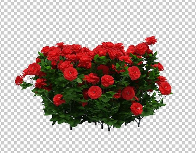 分離された花とブラシツリーの3 dレンダリング Premium Psd