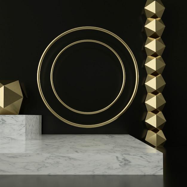 3d представляют мраморных постаментов и золотых орнаментов Premium Psd