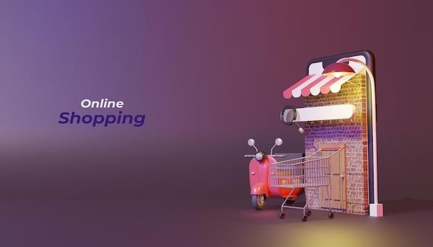 3d render online shopping concept